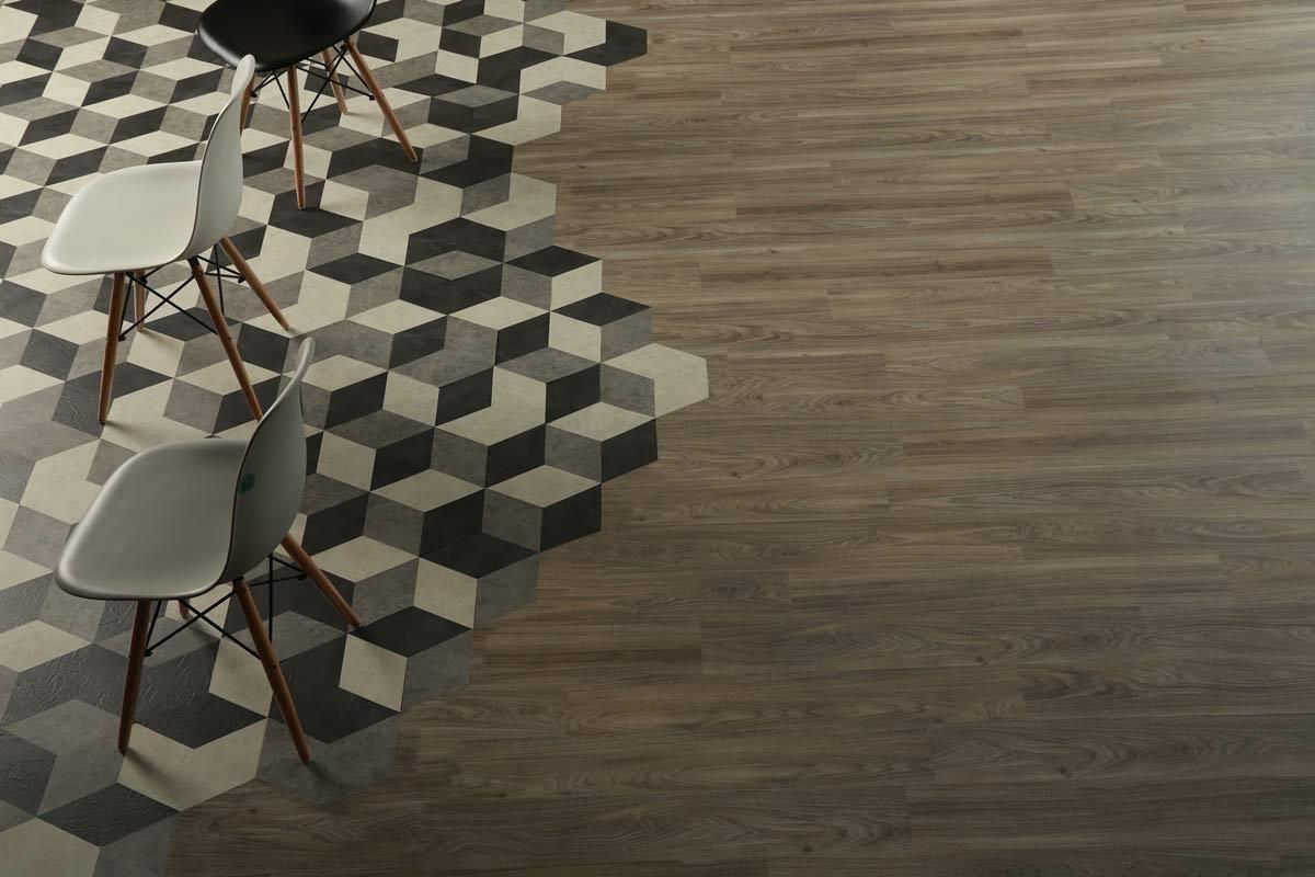 運用菱型與多色拼法 在地板盡情施...